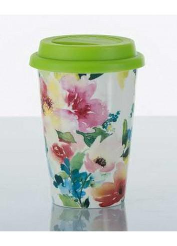 Bicchiere con tappo decorazione fiori colorati  A7637 Kharma Living