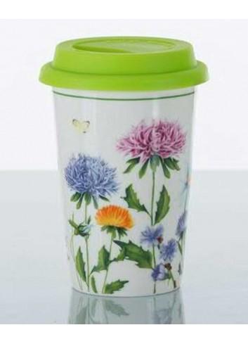 Bicchiere con tappo decorazione fiori erboristeria A7641 Kharma Living