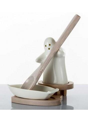 Portamestolo Ghost in porcellana con base in legno di bambù A7627 Kharma Living
