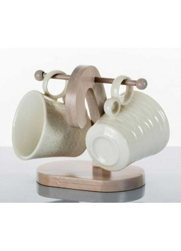 Coppia di tazzine in porcellana con base in legno di bambù A7625 Kharma Living