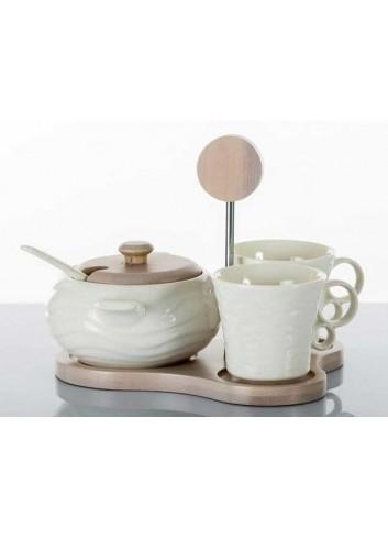 Coppia di tazzine e zuccheriera in porcellana con base in legno di bambù A7626 Kharma Living