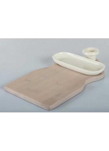 Tagliere formaggi in legno di bambù con ciotolina in porcellana A7628 Kharma Living