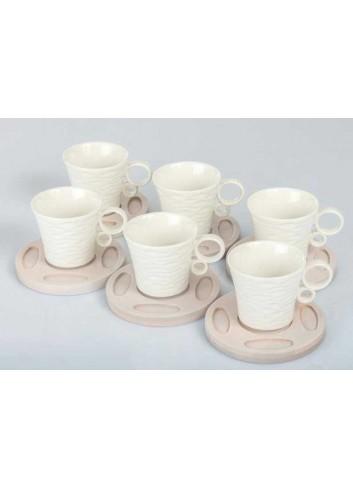 Servizio 6 tazzine in porcellana con base in legno di bambù A7629 Kharma Living