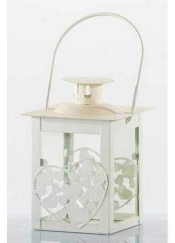 Lanterna in metallo bianco con cuoricini E3133 Kharma Living