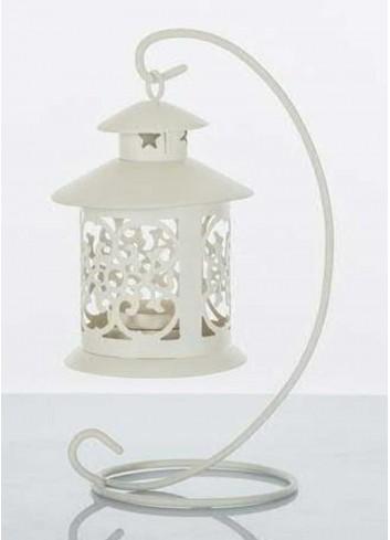 Lanterna in metallo bianco con supporto E3261 Kharma Living