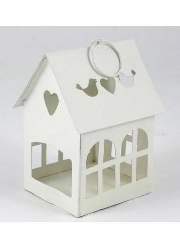 Lanterna casetta in metallo bianco con uccellini e cuori E3131 Kharma Living
