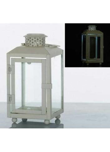 Lanterna rettangolare in metallo bianco con led E3264 Kharma Living