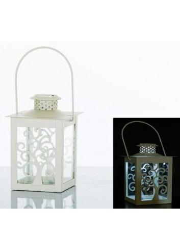Lanterna decoro albero in metallo bianco con led E3265 Kharma Living