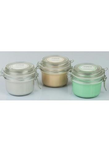 Candela profumata in contenitore vetro con chiusura ermetica 3 fragranze assortite G3504 Kharma Living