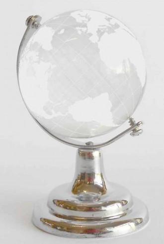 "Mappamondo ""cristallo"" su base silver H3082 Kharma Living"