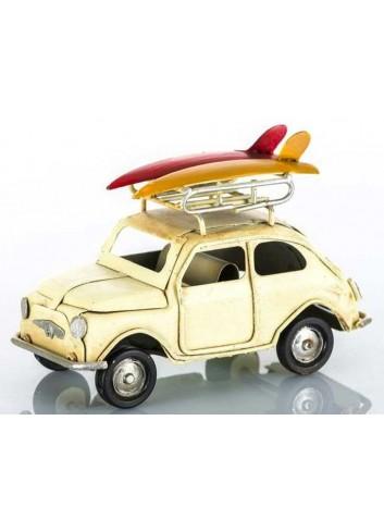Auto vintage crema con bagagliaio con due surf L.11 cm E3219 Kharma Living