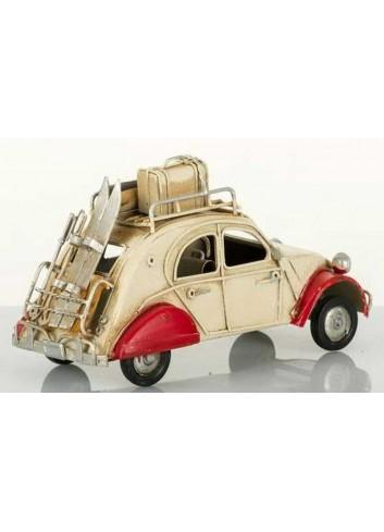 Auto vintage 2cv crema e rossa L.16 cm E3085 Kharma Living