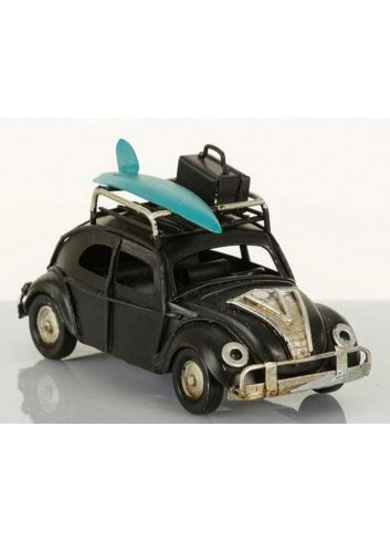 Auto vintage beetle nera con surf L.11 cm E3136 Kharma Living