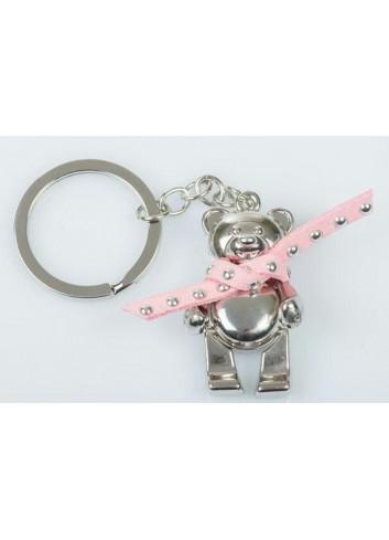Portachiavi in metallo Orsetto con sciarpina rosa E3288 Kharma Living