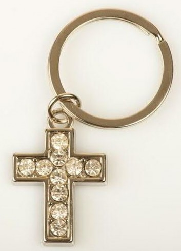 Portachiavi in metallo Croce con strass E3184 Kharma Living