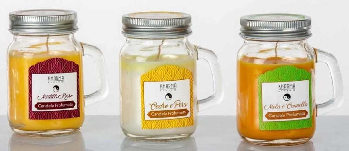 Candela profumata 3 fragranze assortite in contenitore vetro 80 gr G3506 Kharma Living