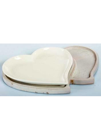 Vassoio cuore in ceramica con base in legno di bambù A7650 Kharma Living