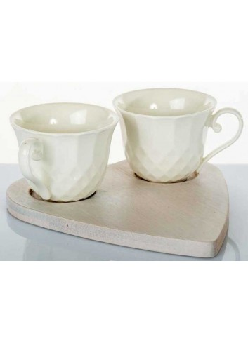 Servizio 2 tazzine caffè in ceramica con base cuore in legno di bambù A7652 Kharma Living