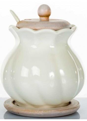Zuccheriera grande in ceramica con base in legno di bambù A7653 Kharma Living