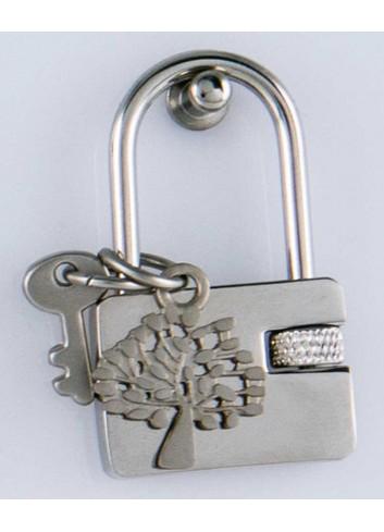 Lucchetto con ciondolo pieno albero della vita in acciaio LOC-014 Lucchetti Margot Italia