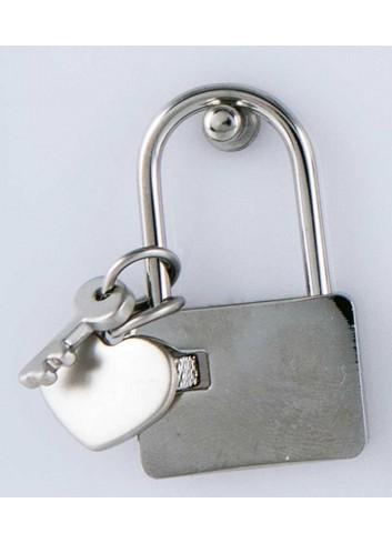 Lucchetto con ciondolo pieno cuore in acciaio LOC-015 Lucchetti Margot Italia