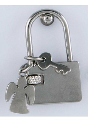 Lucchetto con ciondolo pieno angioletto in acciaio LOC-018 Lucchetti Margot Italia