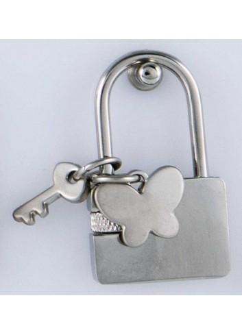 Lucchetto con ciondolo pieno farfalla in acciaio LOC-019 Lucchetti Margot Italia