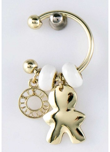 Anello con ciondolo pieno bimbo in acciaio color oro con charms KEY-001 Portachiavi Key Margot Italia