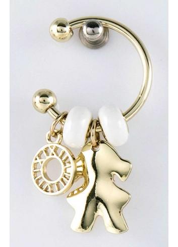 Anello con ciondolo pieno bimba in acciaio color oro con charms KEY-002 Portachiavi Key Margot Italia
