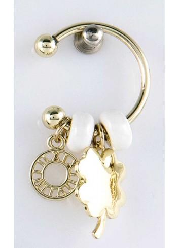 Anello con ciondolo pieno quadrifoglio in acciaio color oro con charms KEY-003 Portachiavi Key Margot Italia