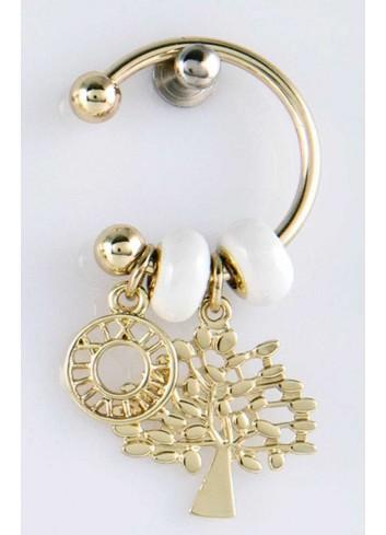 Anello con ciondolo pieno albero vita in acciaio color oro con charms KEY-004 Portachiavi Key Margot Italia