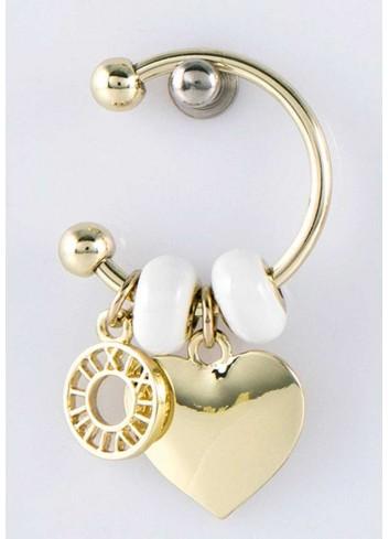 Anello con ciondolo cuore in acciaio color oro con charms KEY-005 Portachiavi Key Margot Italia