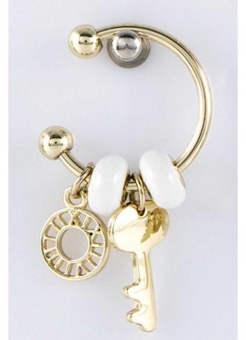 Anello con ciondolo chiave in acciaio color oro con charms KEY-006 Portachiavi Key Margot Italia