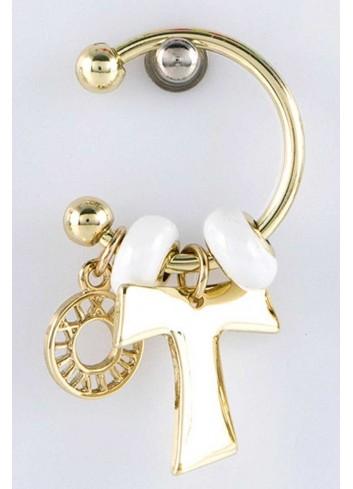 Anello con ciondolo croce in acciaio color oro con charms KEY-007 Portachiavi Key Margot Italia