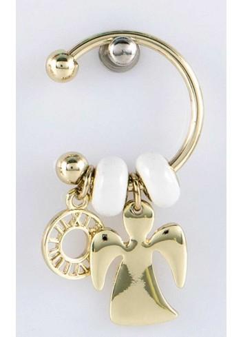 Anello con ciondolo angioletto in acciaio color oro con charms KEY-008 Portachiavi Key Margot Italia