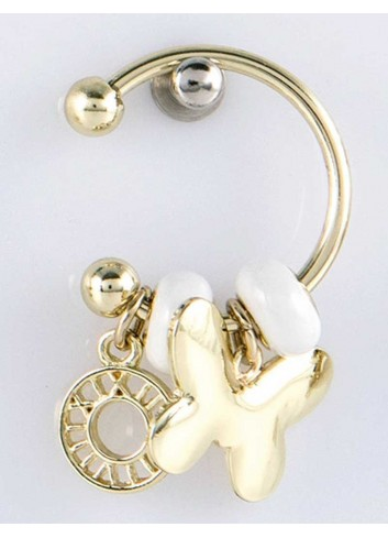 Anello con ciondolo farfalla in acciaio color oro con charms KEY-009 Portachiavi Key Margot Italia