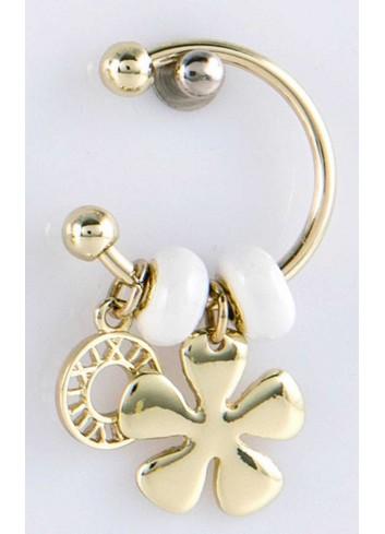 Anello con ciondolo fiore in acciaio color oro con charms KEY-010 Portachiavi Key Margot Italia