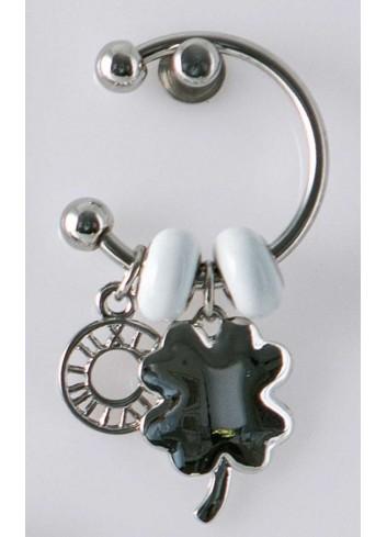 Anello con ciondolo pieno quadrifoglio in acciaio color argento con charms KEY-013 Portachiavi Key Margot Italia
