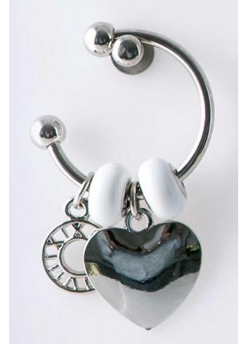 Anello con ciondolo cuore in acciaio color argento con charms KEY-015 Portachiavi Key Margot Italia