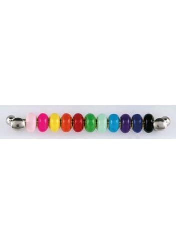 Anello con ciondolo croce in acciaio color argento con charms KEY-017 Portachiavi Key Margot Italia