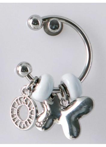 Anello con ciondolo farfalla in acciaio color argento con charms KEY-09 Portachiavi Key Margot Italia