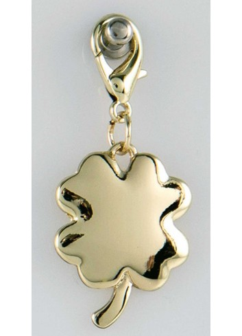 Ciondolo pieno quadrifoglio in acciaio color oro CH-043 Ciondoli Margot Italia