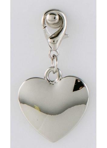 Ciondolo pieno cuore in acciaio color argento CH-055 Ciondoli Margot Italia