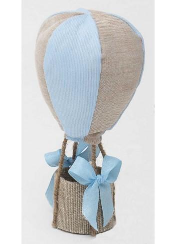 Mongolfiera media profumata bicolore celeste-tortora in cotone A8804/3 Baby Balloon AD Emozioni