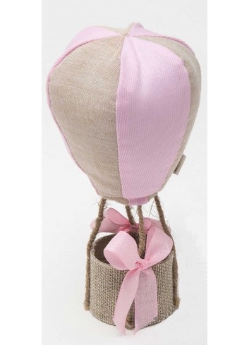 Mongolfiera media profumata bicolore rosa-tortora in cotone A8804/2 Baby Balloon AD Emozioni