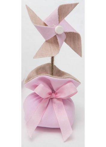 Girandola piccola bicolore con sacchetto rosa A8801/A2 Baby Balloon AD Emozioni
