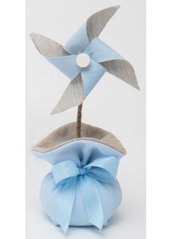 Girandola piccola bicolore con sacchetto celeste A8801/A3 Baby Balloon AD Emozioni