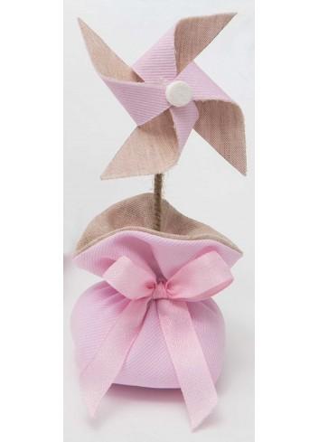 Girandola media bicolore con sacchetto rosa A8802/A2 Baby Balloon AD Emozioni