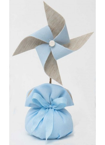 Girandola media bicolore con sacchetto celeste A8802/A3 Baby Balloon AD Emozioni