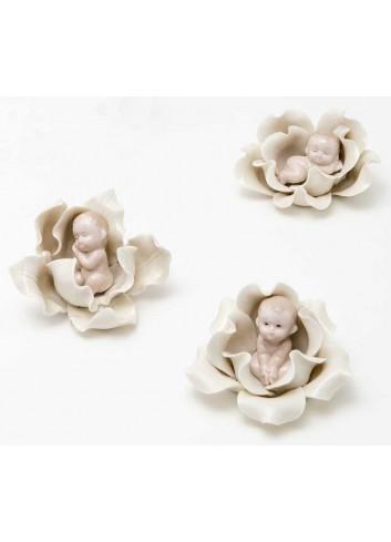 Bimbi su fiore in porcellana 3 modelli assortiti A8401 Baby Flowers AD Emozioni